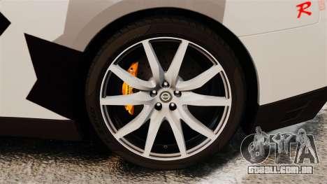 Nissan GT-R Black Edition 2012 Ski Slope Camo para GTA 4 vista de volta