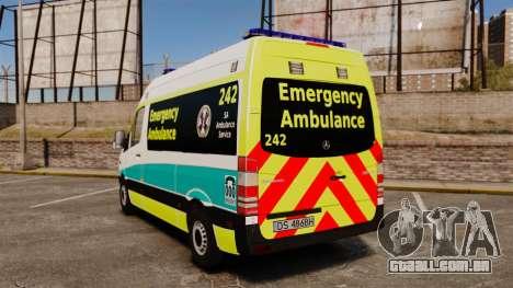 Mercedes-Benz Sprinter Australian Ambulance ELS para GTA 4 traseira esquerda vista