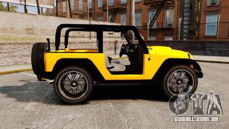 Jeep Wrangler Rubicon 2012 para GTA 4 esquerda vista
