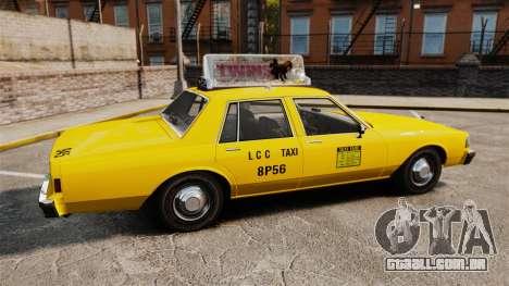 Chevrolet Caprice 1987 L.C.C. Taxi para GTA 4 esquerda vista