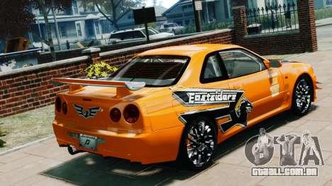 Nissan Skyline R34 GT-R NFS Underground para GTA 4 esquerda vista