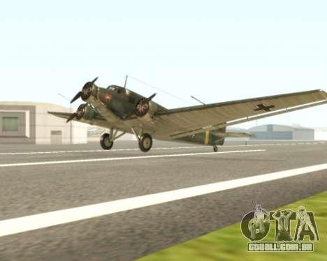 Junkers Ju-52 para GTA San Andreas esquerda vista