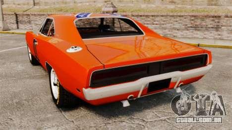 Dodge Charger 1969 General Lee v2.0 HD Vinyl para GTA 4 traseira esquerda vista