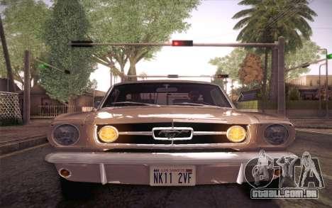 Ford Mustang GT 289 Hardtop Coupe 1965 para vista lateral GTA San Andreas