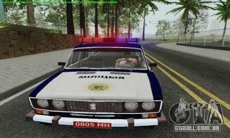 Polícia de 2106 VAZ para vista lateral GTA San Andreas
