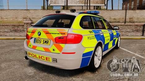BMW 550d Touring Metropolitan Police [ELS] para GTA 4 traseira esquerda vista