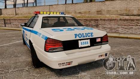GTA V Vapid Police Cruiser NYPD para GTA 4 traseira esquerda vista