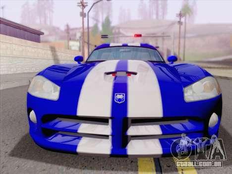 Dodge Viper SRT-10 Coupe para GTA San Andreas vista inferior