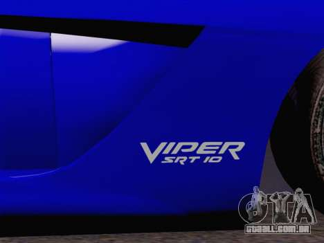 Dodge Viper SRT-10 Coupe para GTA San Andreas vista traseira