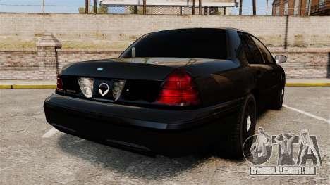 Ford Crown Victoria Stealth [ELS] para GTA 4 traseira esquerda vista
