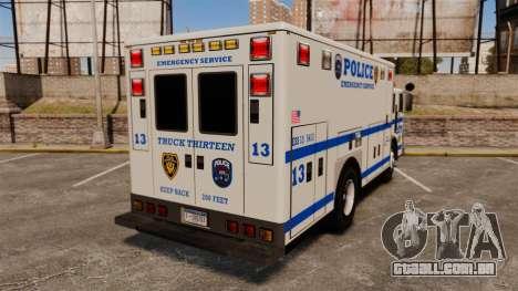 Hazmat Truck LCPD [ELS] para GTA 4 traseira esquerda vista