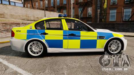 BMW M3 British Police [ELS] para GTA 4 esquerda vista