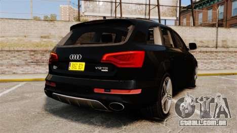 Audi Q7 Unmarked Police [ELS] para GTA 4 traseira esquerda vista