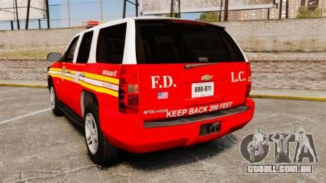 Chevrolet Tahoe Fire Chief v1.4 [ELS] para GTA 4 traseira esquerda vista