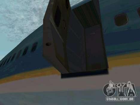 Boeing-747-400 Airforce one para GTA San Andreas traseira esquerda vista