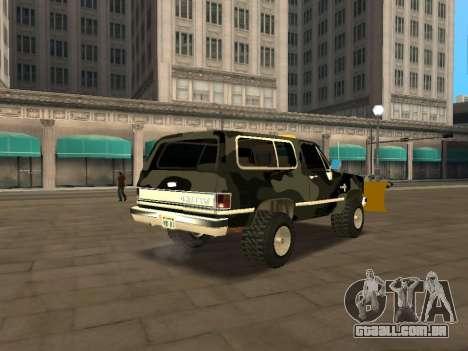 Chevrolet Blazer para GTA San Andreas traseira esquerda vista