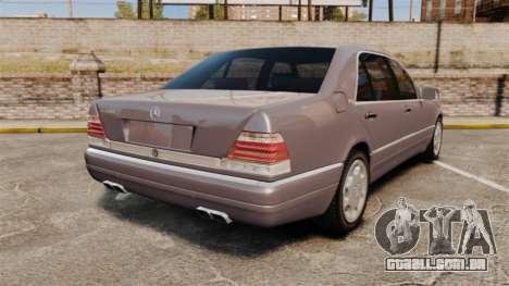 Mercedes-Benz S600 W140 para GTA 4 traseira esquerda vista