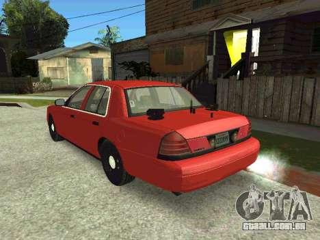 Ford Crown Victoria Unmarked Police para GTA San Andreas traseira esquerda vista