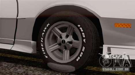 Chevrolet Camaro IROC-Z 1989 FIXED para GTA San Andreas traseira esquerda vista