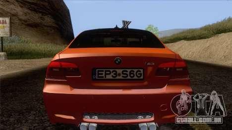 BMW M3 E92 2008 Vossen para GTA San Andreas vista inferior