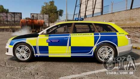 Audi RS6 Avant Metropolitan Police [ELS] para GTA 4 esquerda vista