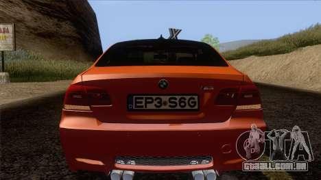 BMW M3 E92 2008 Vossen para GTA San Andreas vista superior