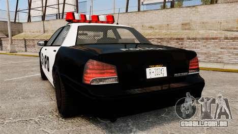 GTA V Vapid Police Cruiser LSPD para GTA 4 traseira esquerda vista