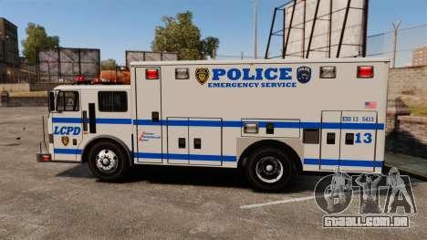 Hazmat Truck LCPD [ELS] para GTA 4 esquerda vista