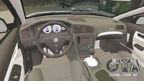 Volvo S60R Unmarked Police [ELS] para GTA 4 vista interior