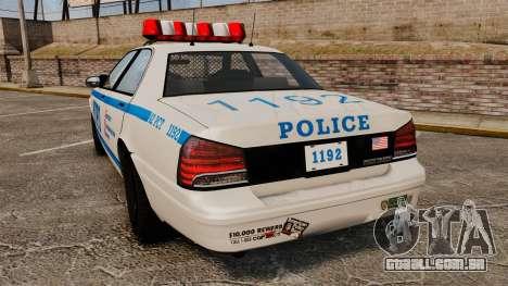 GTA V Police Vapid Cruiser NYPD para GTA 4 traseira esquerda vista