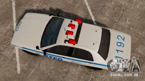 GTA V Police Vapid Cruiser NYPD para GTA 4 vista direita