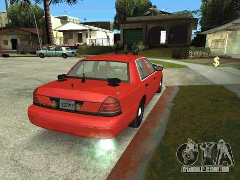 Ford Crown Victoria Unmarked Police para GTA San Andreas esquerda vista