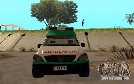 Mercedes-Benz Vito Ambulancia ACHS 2012 para GTA San Andreas vista interior