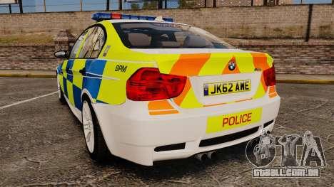 BMW M3 British Police [ELS] para GTA 4 traseira esquerda vista