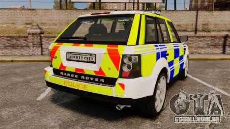Range Rover Sport Metropolitan Police [ELS] para GTA 4 traseira esquerda vista