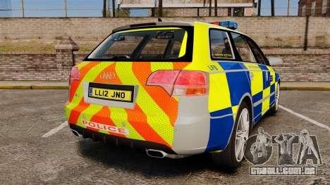 Audi S4 Avant Metropolitan Police [ELS] para GTA 4 traseira esquerda vista