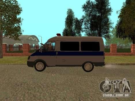 GÁS polícia Sable para GTA San Andreas traseira esquerda vista