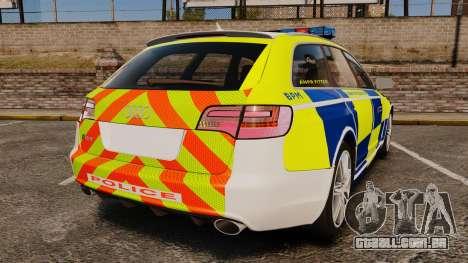 Audi RS6 Avant Metropolitan Police [ELS] para GTA 4 traseira esquerda vista