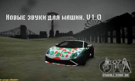 Novos sons de máquinas V 1.0 para GTA 4