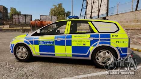 Ford Focus Estate Metropolitan Police [ELS] para GTA 4 esquerda vista