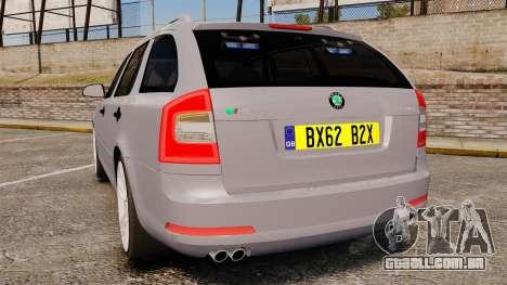 Skoda Octavia RS Unmarked Police [ELS] para GTA 4 traseira esquerda vista