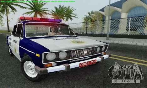 Polícia de 2106 VAZ para GTA San Andreas vista superior