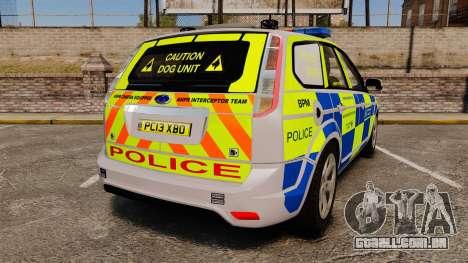 Ford Focus Estate Metropolitan Police [ELS] para GTA 4 traseira esquerda vista