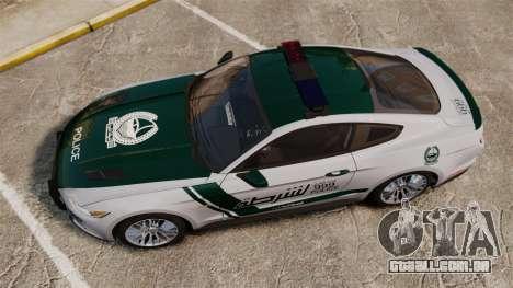 Ford Mustang GT 2015 Police para GTA 4 vista direita