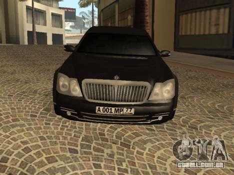 Maybach 62 V2.0 para GTA San Andreas esquerda vista