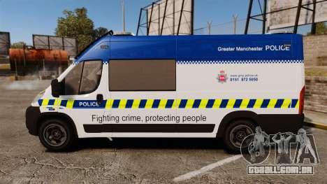 Fiat Ducato Manchester Police [ELS] para GTA 4 esquerda vista