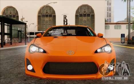 Toyota GT86 Lowstance para vista lateral GTA San Andreas