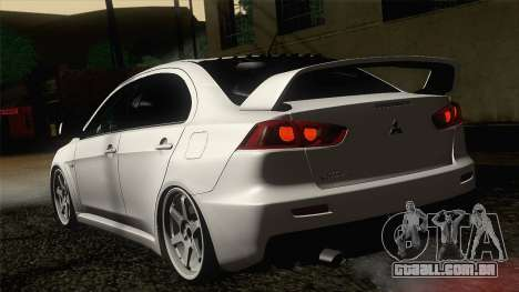 Mitsubishi Lancer X Evolution para GTA San Andreas esquerda vista