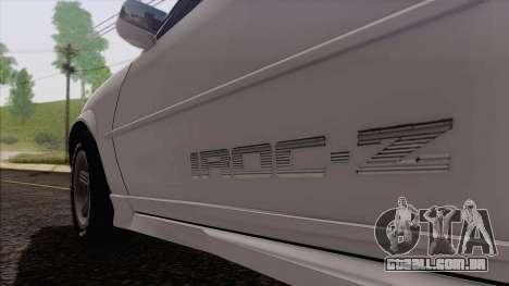 Chevrolet Camaro IROC-Z 1989 FIXED para GTA San Andreas vista traseira