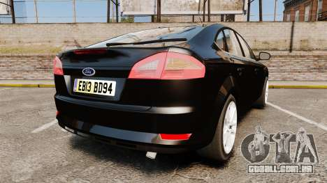 Ford Mondeo Unmarked Police [ELS] para GTA 4 traseira esquerda vista